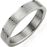 Stainless Steel English Lord's Prayer 4mm Band Ring - Women