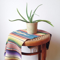 Vintage Wool and Silk Saltillo - striped, southwestern , textile, rug , wall hanging,