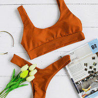 Double Scoop Neck Bikini Set -SheIn(Sheinside)