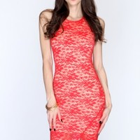Red Lace Knee Length Party Dress