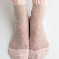 Women New Hezwagarcia Pink Cute Polka Dot Ribbon Nylon Sheer See Through Ankle Socks Hosiery