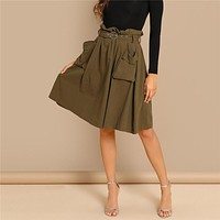Army Green Elegant Waist Belted Pleated Pocket Mid Waist Pencil Above Knee Skirt Short Office Lady Women Skirts