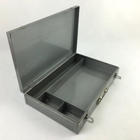 Industrial Steel Divided Supply Box with Handle Metal Art Supply Box Vintage American Made Utility Tool Box Steel Briefcase Craft Storage