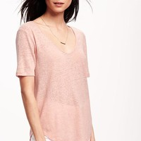 Relaxed Hi-Lo V-neck Linen Tee for Women | Old Navy