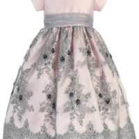 Girls Pink Shantung & Silver Embroidered Tulle Holiday Dress 2T-12