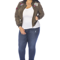 Plus Size Patched Up Bomber Jacket - Olive