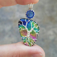 Dichroic Glass Tree of Life Pendant Wire Wrapped Yggdrasil rainbow and blue Fused Glass Celtic Family Tree Necklace Wire Wrapped Glass