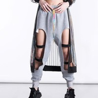 Women Casual Loose Personality Ripped Hollow Sweatpants Leisure Pants Trousers