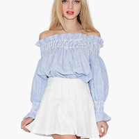 Blue Off Shoulder Long Sleeve with Lace Accent Ruched Top