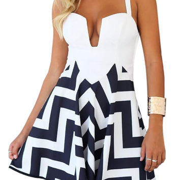 White and Blue Chevron Print Plunging Neckline Cut-Out Back Mini Dress