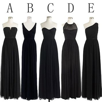Black Bridesmaid Dresses in Chiffon, Cheap Bridesmaid Dress BM0025