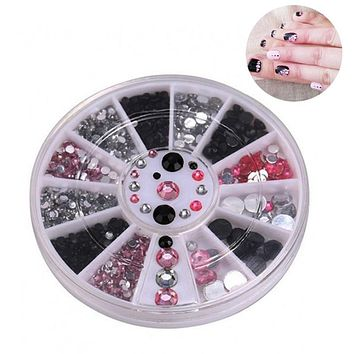 Acrylic Irregular Colorful Crystal Jewelry Decorations Glitter Shiny Nail Art 3 Color Mixed Box Small Turntable Nail Tool TSLM2