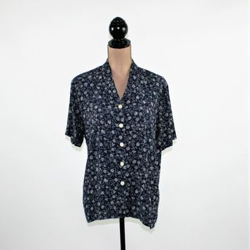 80s Oversized Rayon Shirt Women Short Sleeve Top Button Up Blouse Navy Blue and White Print Medium Large Talbots Vintage Clothing Women