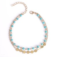 New Arrival Jewelry Sexy Shiny Gift Ladies Stylish Cute Accessory Simple Design Vintage Summer Weathered Double-layered Anklet [6042875329]