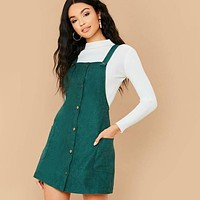 Button Front Pocket Patched Corduroy Pinafore Dress