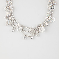 Full Tilt 8 Coin Swag Statement Necklace Antique Silver One Size For Women 26447358201