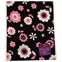 "Duck Fabric Crafting Tape Lot of 24 Sheet Black Pink Floral 8 x 10"" Decorate DIY"