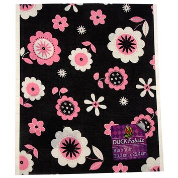 """Duck Fabric Crafting Tape Lot of 24 Sheet Black Pink Floral 8 x 10"""" Decorate DIY"""