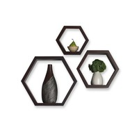 Melannco Espresso Hexagon Shelves, Set of 3