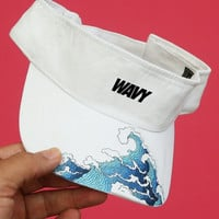 waves white sun visor