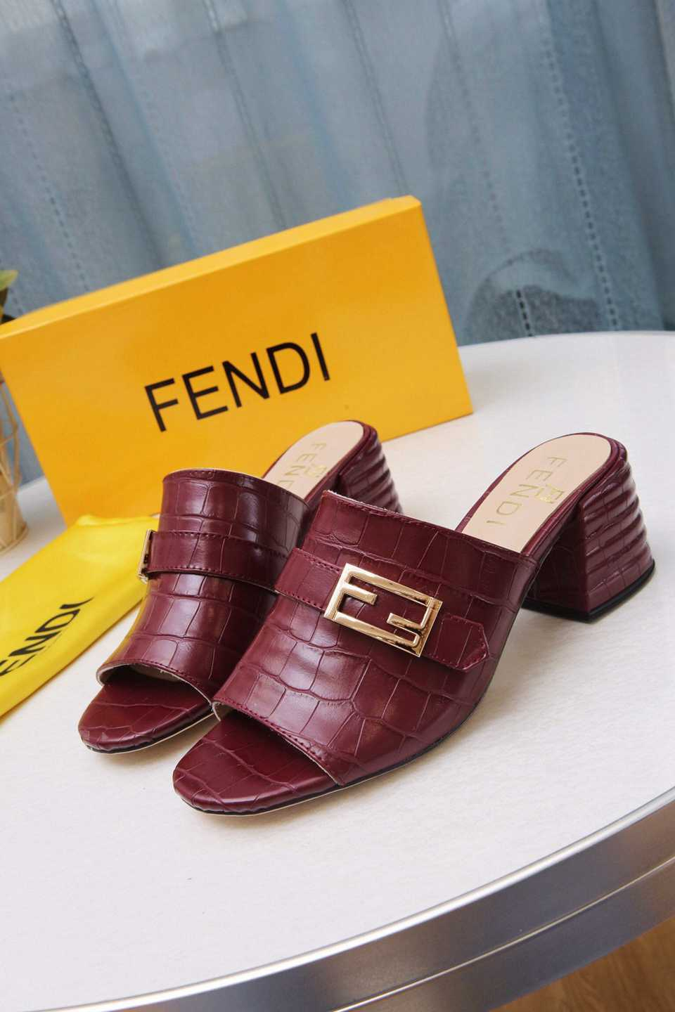 Image of FENDI  Trending Women's Black Leather Side Zip Lace-up Ankle Boots Shoes High Boots