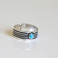 Turquoise SIlver Toe Ring