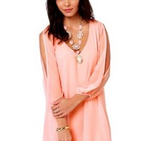 Sheinside Women's Pink V Neck Split Long Sleeve Dress (S, Pink):Amazon:Clothing