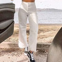 Casual Wide Leg White Jeans Women High Waist Fashion Loose Streetwear Ladies Long Pants With Pockets