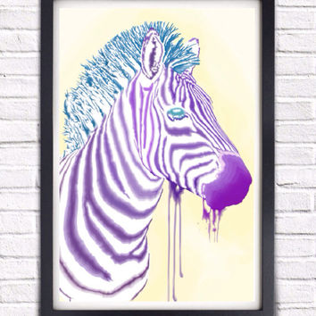 Trippy Psychadelic Watercolor Abstract Plains Zebra, Different Colors Available Savannah Zebra Wildlife Poster Print