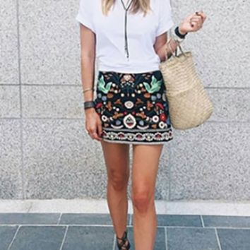 Folk Story Black White Red Brown Blue Floral Embroidery Mini Skirt