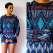 Vtg Tribal Knitted Black Blue Red White Grandpa Sweater