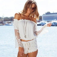 White Off-Shoulder Lace And Mesh Top