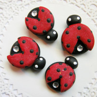 LadyBug Cabochons Red Lady Bug Polymer Clay Hair Bow Centers 4 pcs for hair bow making, scrap booking, card decorations and more