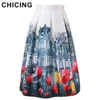 CHICING New 2016 Retro Landscape 3D Building & Tulip Flower Painting Print Flared Midi Pleated Ladies Stain Tutu Skirts A1507035