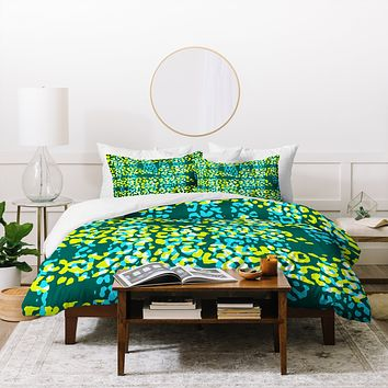 Sarah Bagshaw Green And Yellow Dappled Duvet Cover
