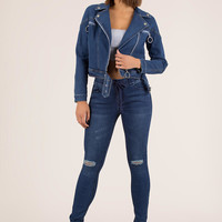 Cool And The Gang Denim Moto Jacket
