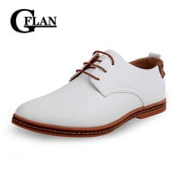 Men's Leather Shoes, Flat Spring And Autumn Oxford Shoes