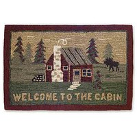"""""""Welcome to the Cabin"""" Hooked Wool Accent Rug -- 24"""" x 36"""""""