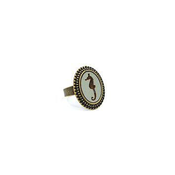 Pale Blue Seahorse Large Cameo Ring   Brass   Handmade