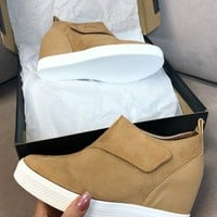 Zone Out Camel Faux Suede Wedge Sneaker