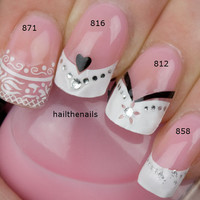 4 Sets of French Nail Art Tips Wrap Stickers Lace by Hailthenails