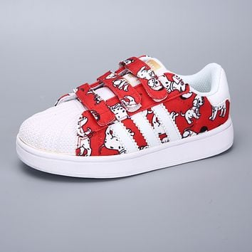Adidas Superstar White Red Multi Velcro Toddler Kid Shoes