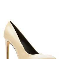 Nude Faux Patent Leather Pointy Heels