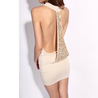Krazy R.JStory Sexy Club Cocktail Party Evening Dress #103 Nude