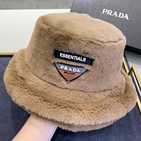 Prada New fashion artificial plush couple fisherman hat cap Khaki