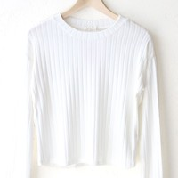 Long Sleeve Ribbed Crop Top