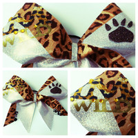 """3"""" Large Cheer Bow Cheetah Gold Glitter I'M WILD Bow with Paw Print"""