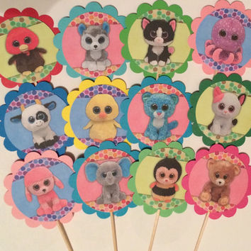 Beanie Boo birthday decor,party favors,party decor, cupcake toppers OR party tags,