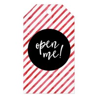 Red Watercolor Stripes Christmas Open Me Gift Tags
