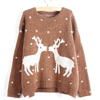 Heathered Deer Knit Side Slit Pullover Sweater